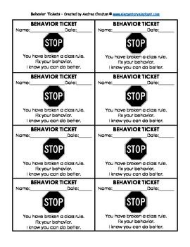 behavior tickets